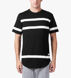 Stampd Black Thin Stripe Elongated T-Shirt Model Picture