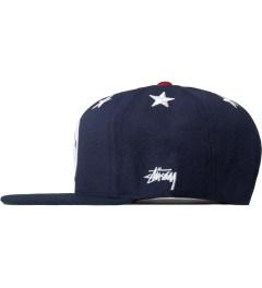 Stussy Navy 6 Stars Starter Snapback Cap Model Picutre