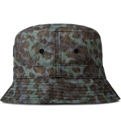 Stussy Olive Cheetah Camo Bucket Hat Model Picutre