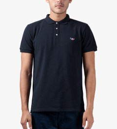 Maison Kitsune Navy Tricolor Patch S/S Polo Shirt Model Picture