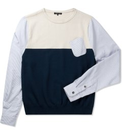 CASH CA Ivory/Navy Knit Sweater Picture