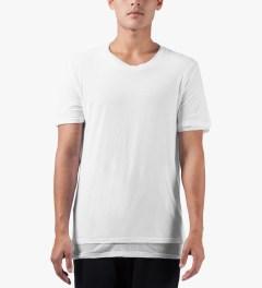 KRISVANASSCHE White Double Layer Round Neck T-Shirt Model Picutre