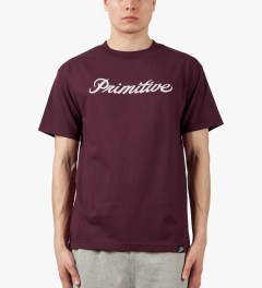 Primitive Burgundy Signature Script T-Shirt Model Picture