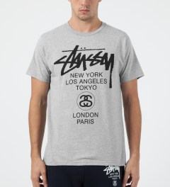 Stussy Heather Grey World Tour T-Shirt Model Picture