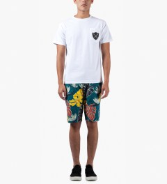 10.Deep Blue Birds Of Paradise Shorts Model Picture
