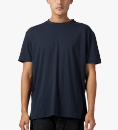 Matthew Miller Navy Marshall Fabric Stripe T-Shirt Model Picture