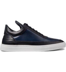 Filling Pieces Navy Leather Scotch Grain Low Top Sneakers Picture