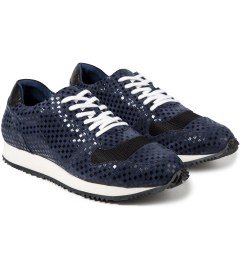 Opening Ceremony Navy Multi Checkered Arrow Sneaker Model Picture