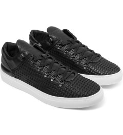 Filling Pieces Wired Black Woven Leather Mountain Cut Sneakers Model Picutre