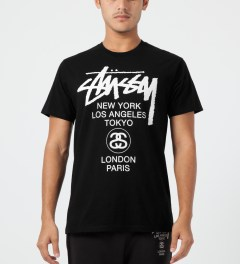 Stussy Black World Tour T-Shirt Model Picture
