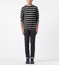 SATURDAYS Surf NYC Ash Heather James Stripe Sweater Model Picture