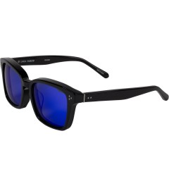 Linda Farrow Black Acetate With Blue Lens Sunglasses Model Picture