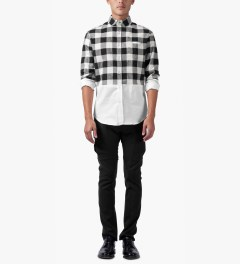 Munsoo Kwon White/Black Two-tone Buffalo Check Shirt Model Picutre
