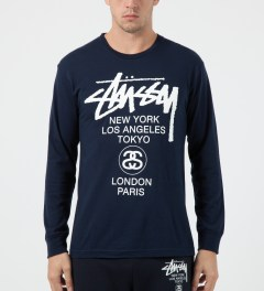 Stussy Navy World Tour L/S T-Shirt Model Picture