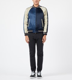 Liful Navy Solid Satin Bomber Jacket Model Picture