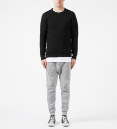 Reigning Champ Black RC-3262 Heavyweight Terry L/S Crew Sweatshirt W/ Side Zip Model Picture