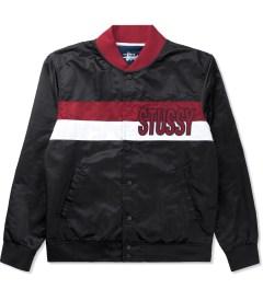 Stussy Black Satin Stripe Jacket Picutre
