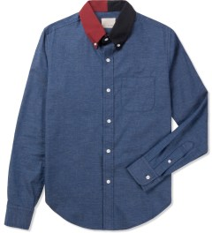 Band of Outsiders Indigo L/S Button Down Split Collar Shirt Picture