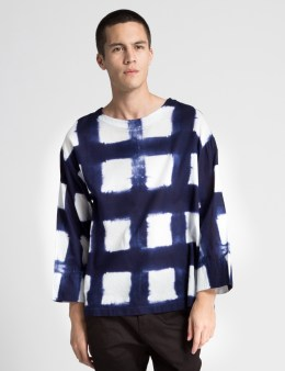 SASQUATCHFABRIX. White/Dary Navy Board Tightened Check Long Sleeve T-Shirt  Picture
