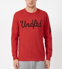 Undefeated Red 5 Script L/S T-Shirt Model Picture