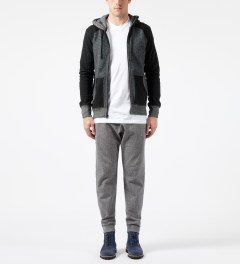 Reigning Champ Black RC-3268 Hybrid L/S Zip Front Hoodie Model Picture