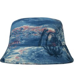 Grind London Blue Hawaiian Print Linen Bucket Hat Picutre