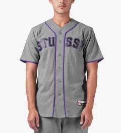 Stussy Heather Grey Stussy Baseball Jersey Model Picutre