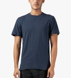 CLOT Navy Fish Tail Leather T-Shirt Model Picutre