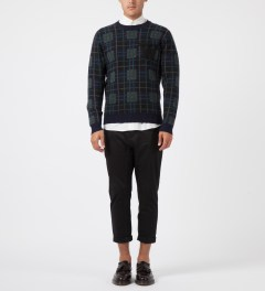 Wood Wood Navy Check Gregory Sweater Model Picture