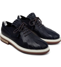 KRISVANASSCHE Navy Fringed Tongue Derby Shoes Model Picture