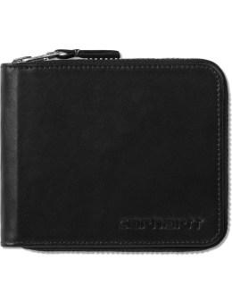 Carhartt WORK IN PROGRESS Black Cow Leather Zip Wallet Picture