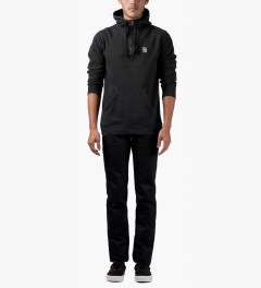 Rockwell by Parra Black Horse Face Hooded 1/4 Zipper Sweater Model Picutre