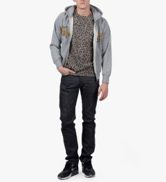 FUCT SSDD Heather Grey SSDD GOOD CHARM ZIP HOODIE Model Picutre