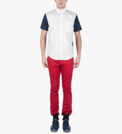 Raised by Wolves White/Navy Sleeves Morocco Blues Short Sleeve Shirt Model Picture