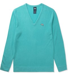 Stussy Turquoise Stock V-Neck Sweater Picutre