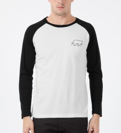 FUCT SSDD White/Black Boobies Raglan T-Shirt Model Picture