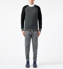 Reigning Champ Black RC-3269 Hybrid L/S Crewneck Sweater Model Picture