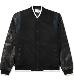 Shades of Grey by Micah Cohen Black Wool Ultrasuede Baseball Jacket Picture