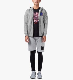 Undefeated Heather Grey Double 5 Strike App Zip Up Jacket Model Picutre