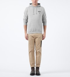 Stussy Heather Grey World Tour Hoodie Model Picture