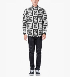 Lazy Oaf Black/White Fuck This Noise L/S Shirt Model Picutre