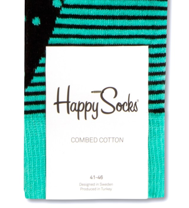 Turquoise/Black Stripes and Dots Socks