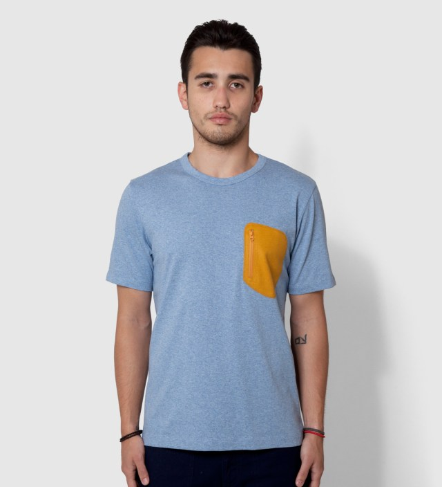 Blue Wool Pocket T-Shirt