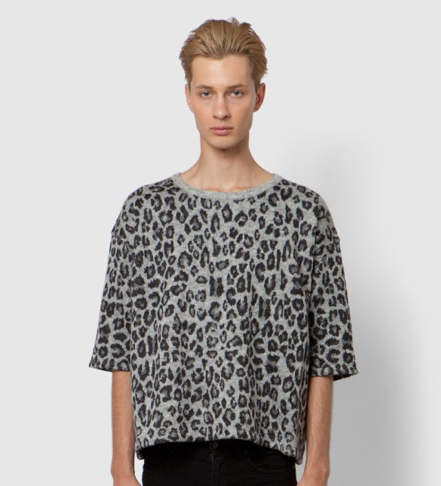 Grey Leopard Big Knit T-Shirt