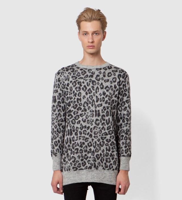 Grey Leopard Long Sweater