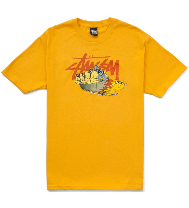 Pierre Bolide x Stussy Mustard Yellow Bobsled T-Shirt