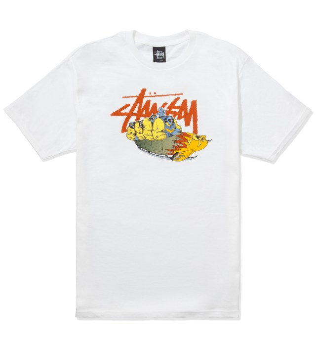 Pierre Bolide x Stussy White Bobsled T-Shirt