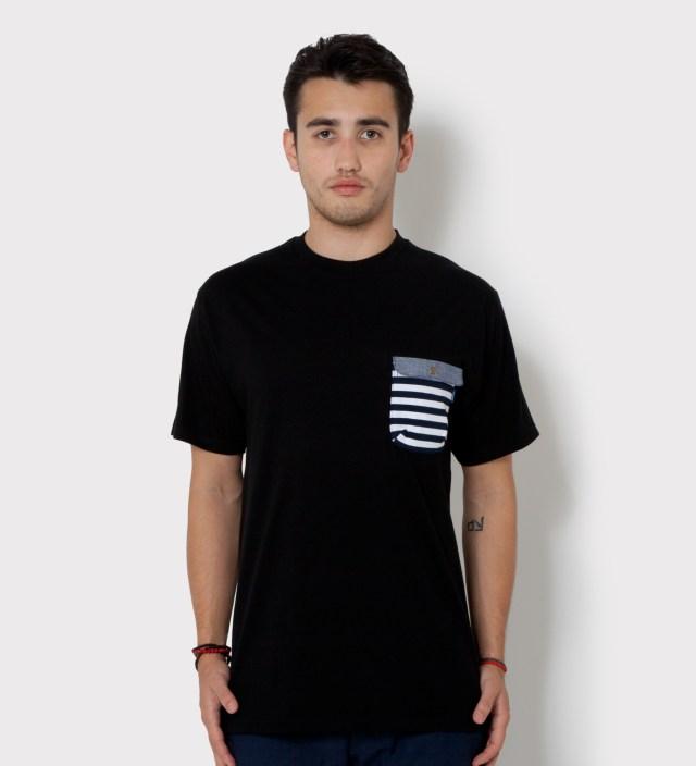 Black Border Stripes w/ Blue Chambray Flap Chief Pocket T-Shirt