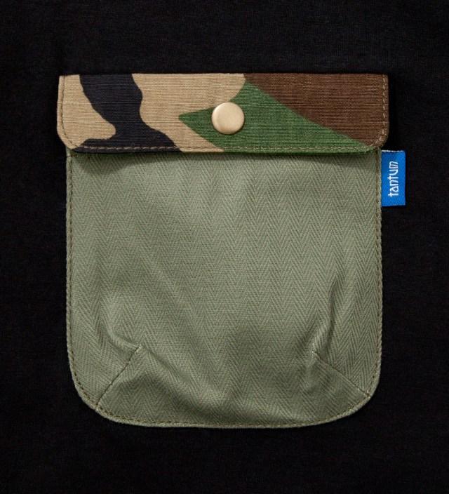 Black Olive Drab HBT w/ Woodland Camo Flap Chief Pocket T-Shirt