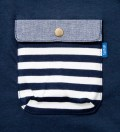Navy Blue Border Stripes w/ Blue Chambray Flap Chief Pocket T-Shirt